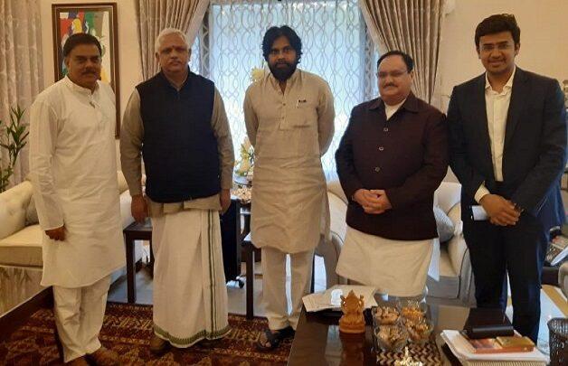 Jana Sena Party President Pawan Kalyan meets BJP Working President JP Nadda