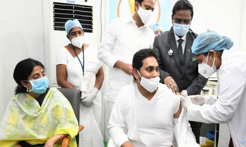 Andhra Pradesh Cm Ys Jagan Takes Covid-19 Vaccine In Guntur
