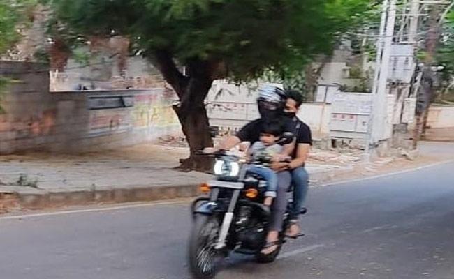 Jr Ntr's Bike Ride With Son Bhargav Ram